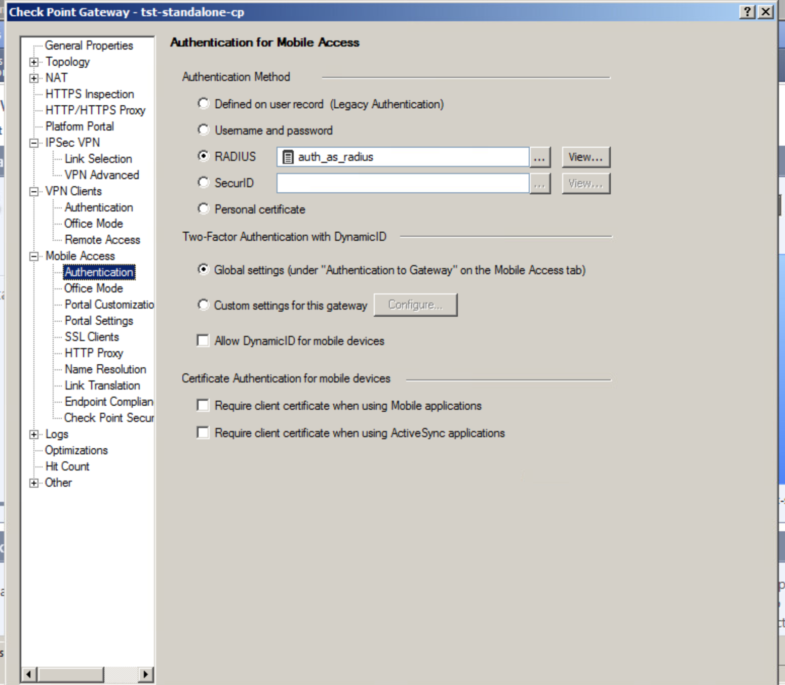 Integration with Checkpoint Mobile Access Blade / auth as